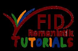 Das Logo des FID Romanistik, ergänzt um den Schriftzug Tutorials, dessen einzelne Buchstaben die Farben aus dem Logo aufgreifen (Rot, Blau, Gelb, Grün)