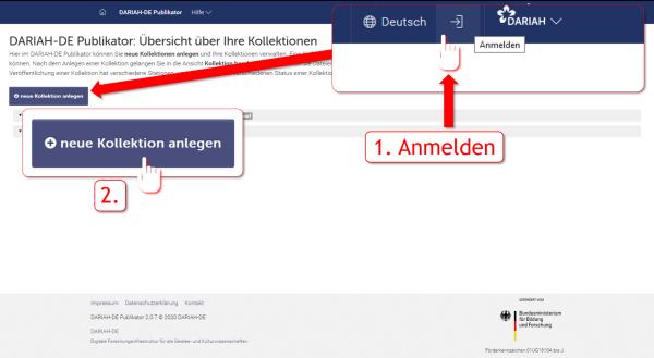 Screenshot 1 – Anlegen einer neuen Kollektion