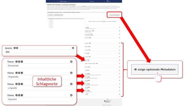 Screenshot 4 - Optionale Metadaten für romanistische Datensätze