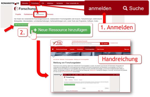 Screenshot 8 – Meldung der Forschungsdaten auf romanistik.de