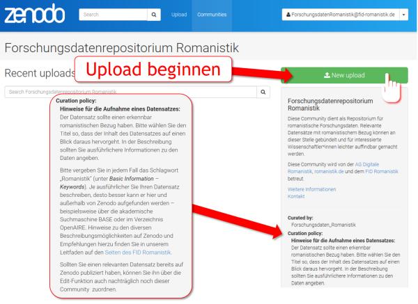 Anforderungen der Curation Policy und Beginn des Uploads