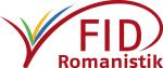 Logo des FID Romanistik in den Farben Rot, Blau, Gelb, Grün (150 Pixel breit)