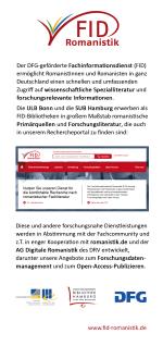 Die Vorderseite des Infoflyers zum FID-Romanistik (150 Pixel breit)